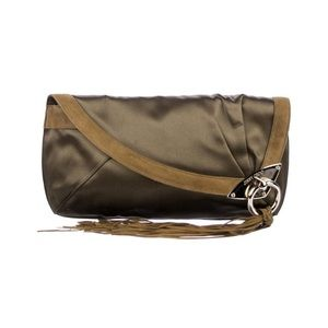 Jimmy Choo olive green satin clutch